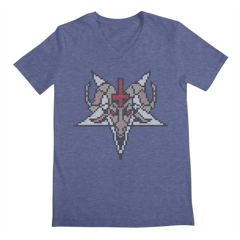 Pentagram cross stitching Men's Regular V-Neck by marpeach's Artist Shop