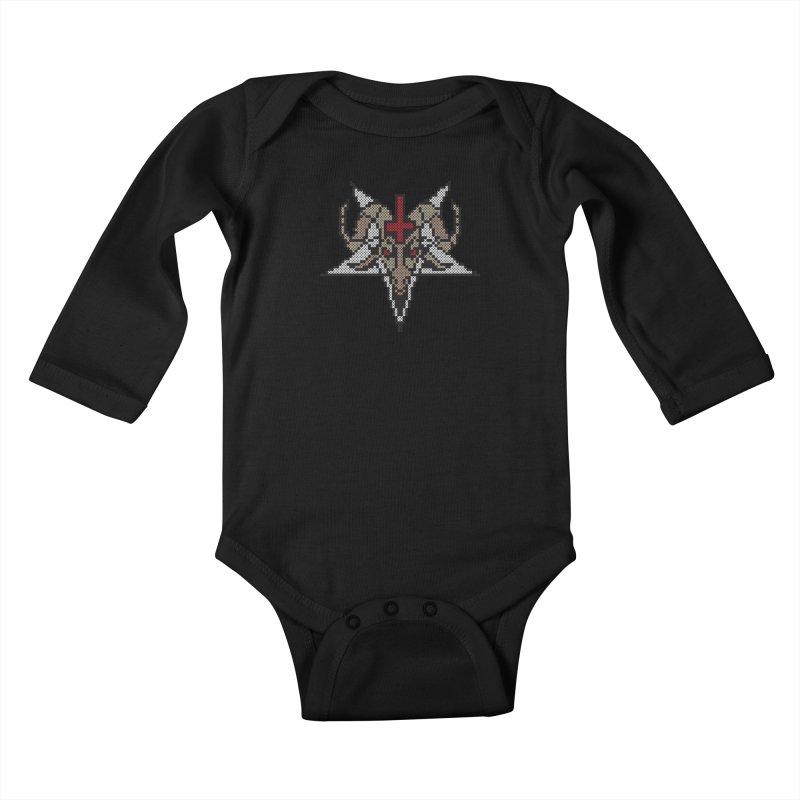 Pentagram cross stitching Kids Baby Longsleeve Bodysuit by marpeach's Artist Shop