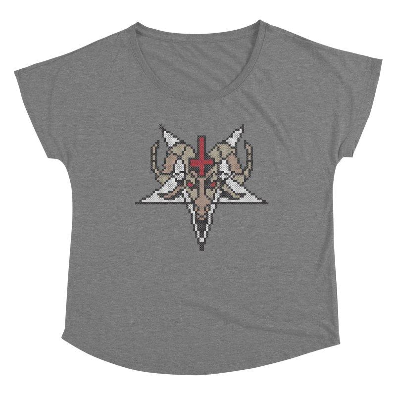 Pentagram cross stitching Women's Scoop Neck by marpeach's Artist Shop