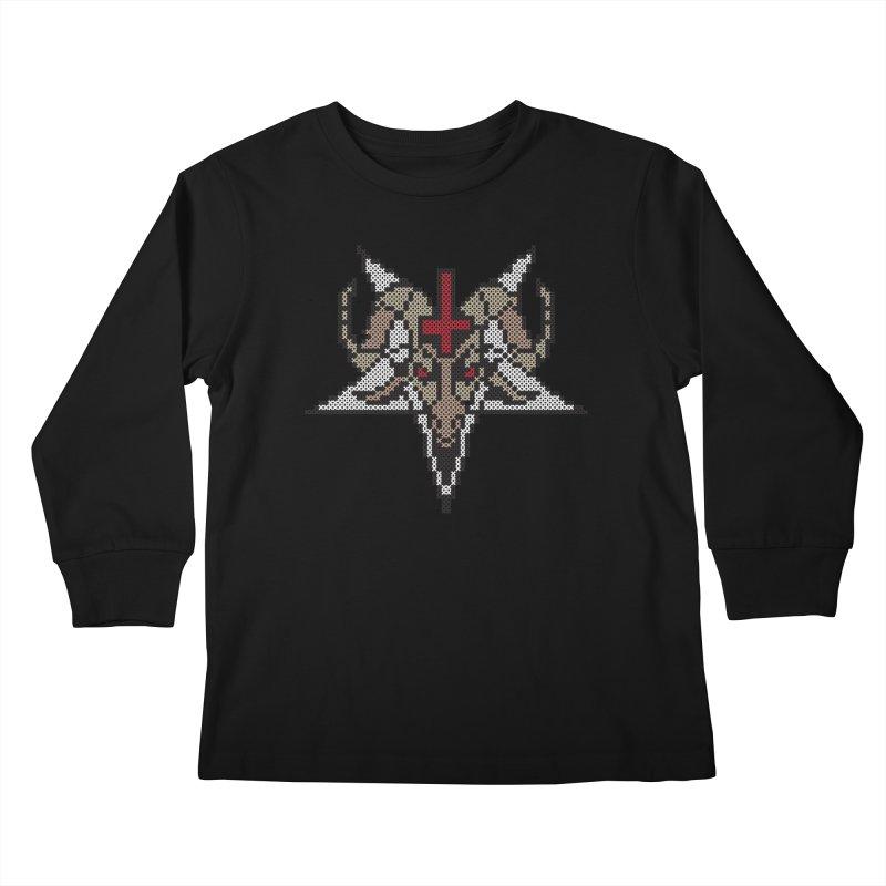 Pentagram cross stitching Kids Longsleeve T-Shirt by marpeach's Artist Shop