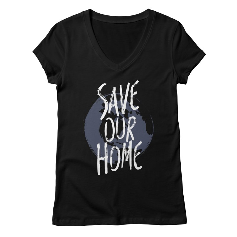 Save Our Home Women's Regular V-Neck by Marrowbone Apparel