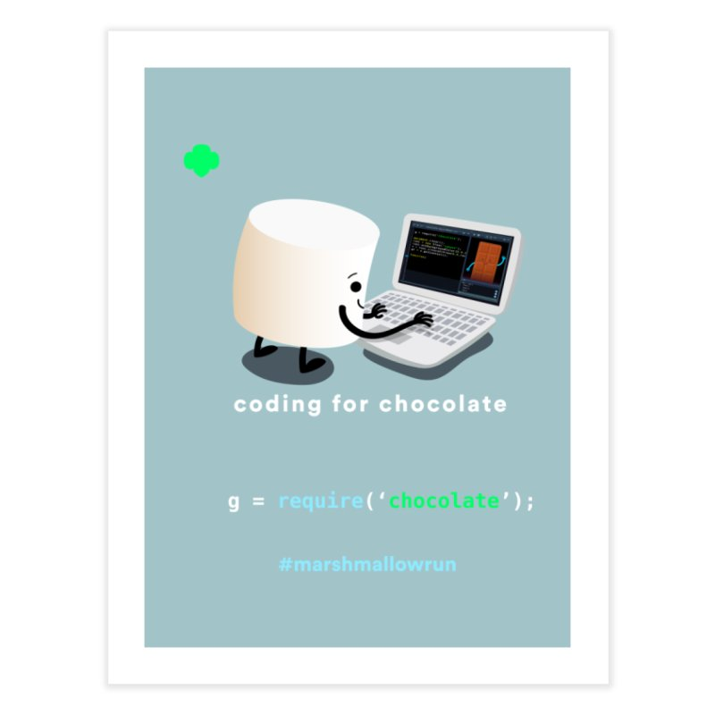 coding for chocolate Home Fine Art Print by marshmallowrun's Artist Shop