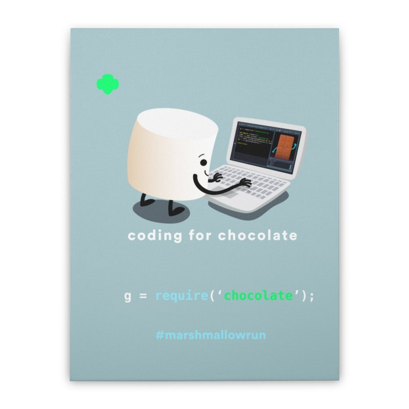 coding for chocolate Home Stretched Canvas by marshmallowrun's Artist Shop