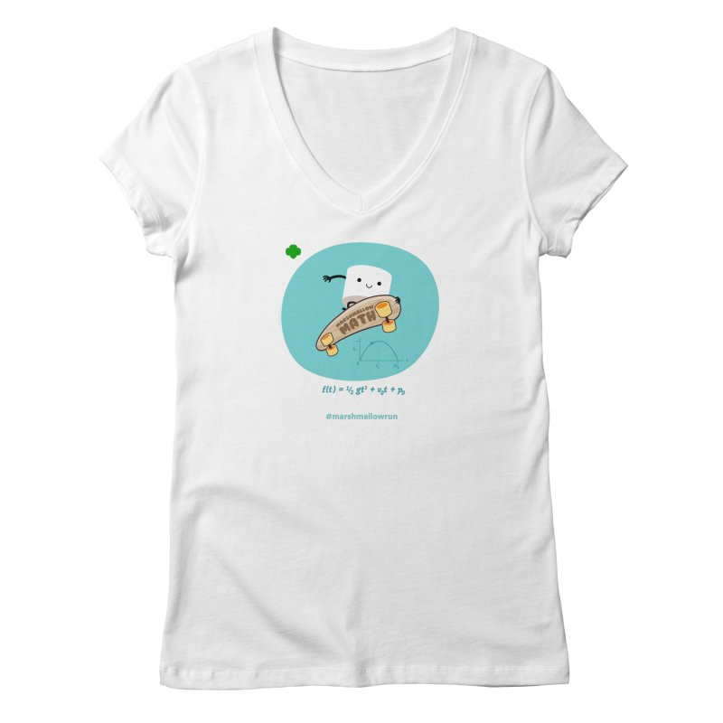 Marshmallow Math for white T Women's Regular V-Neck by marshmallowrun's Artist Shop
