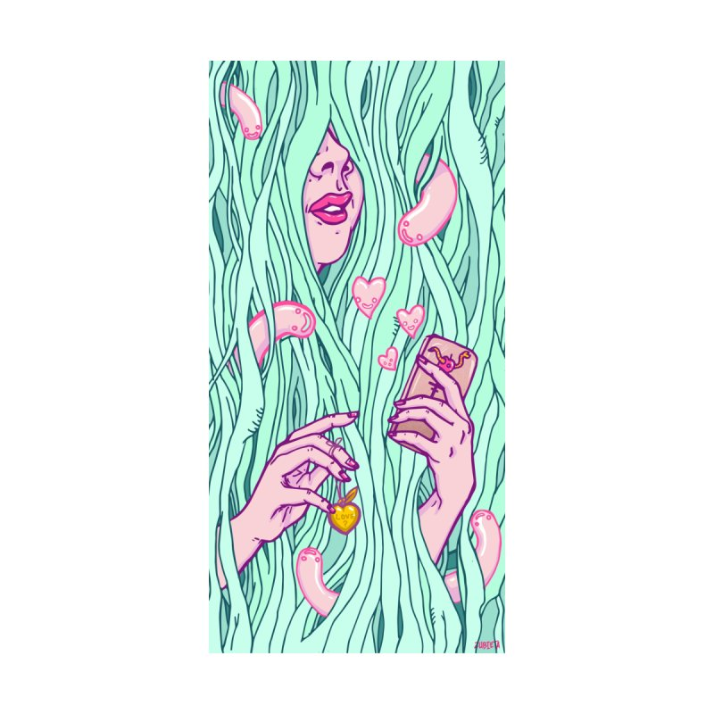 Lost in neptune vines - pop surrealist girl with phone by Zubieta's Artist Shop