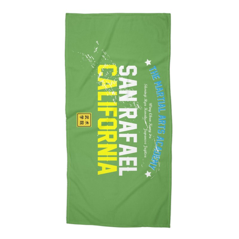 Old School, White Type Accessories Beach Towel by The Martial Arts Academy's Store