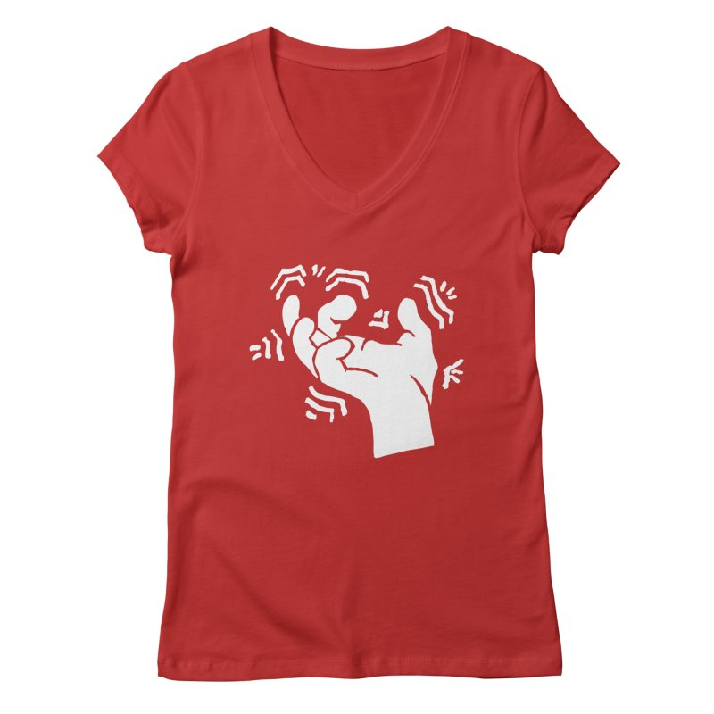 Savage Hand White Women's V-Neck by The Martial Arts Academy's Store