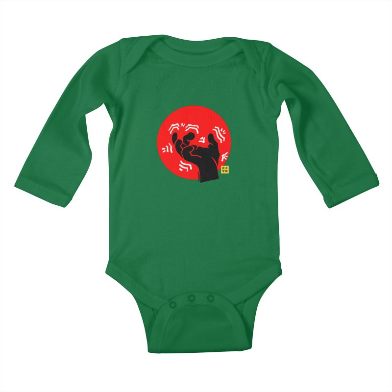 Savage Hand w Sun, black Kids Baby Longsleeve Bodysuit by The Martial Arts Academy's Store