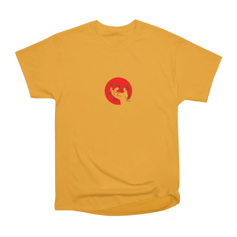 Savage Hand w Sun, Transparent + Yellow Details Men's Heavyweight T-Shirt by The Martial Arts Academy's Store