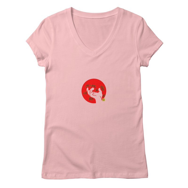 Savage Hand w Sun, Transparent + Yellow Details Women's V-Neck by The Martial Arts Academy's Store