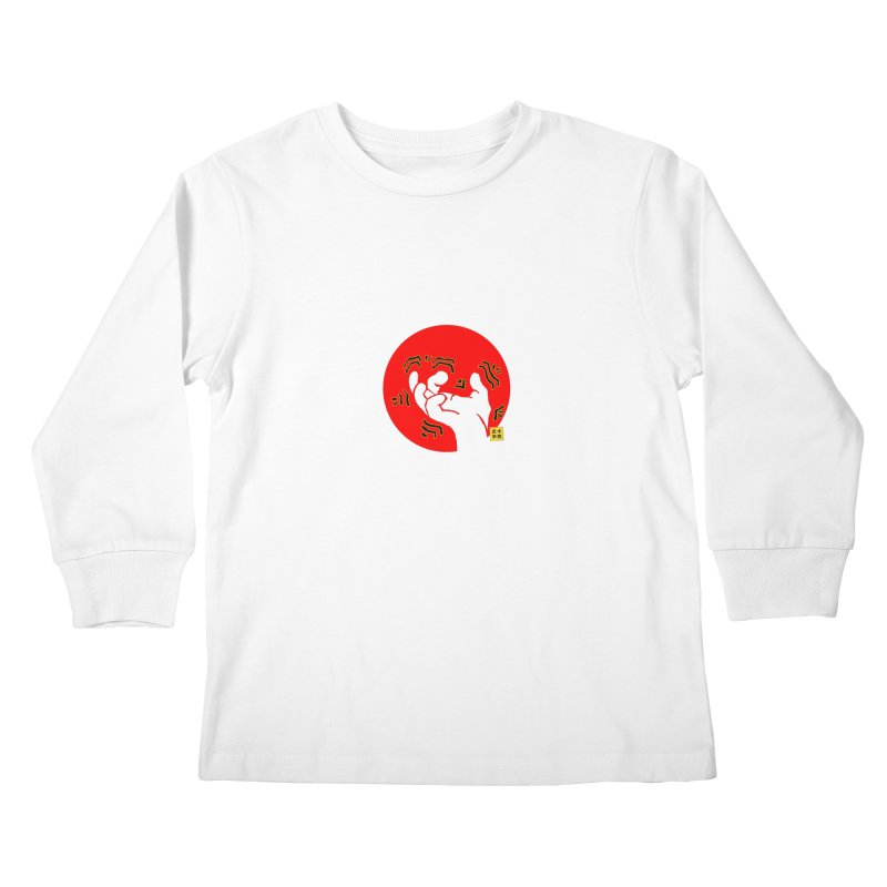 Savage Hand w Sun, Transparent + Yellow Details Kids Longsleeve T-Shirt by The Martial Arts Academy's Store