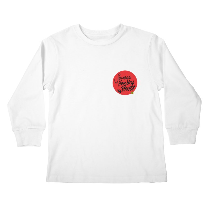 Savage Hand, Script Kids Longsleeve T-Shirt by The Martial Arts Academy's Store