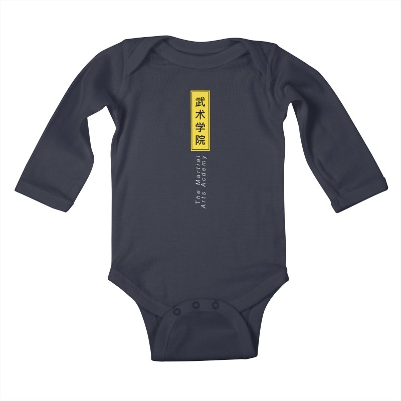 Logo Vert, white Kids Baby Longsleeve Bodysuit by The Martial Arts Academy's Store