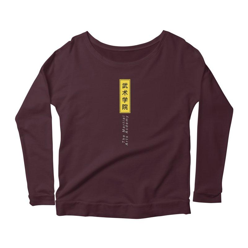 Logo Vert, white Women's Scoop Neck Longsleeve T-Shirt by The Martial Arts Academy's Store