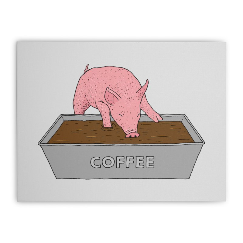 Coffee Pig Home Stretched Canvas by Martina Scott's Shop