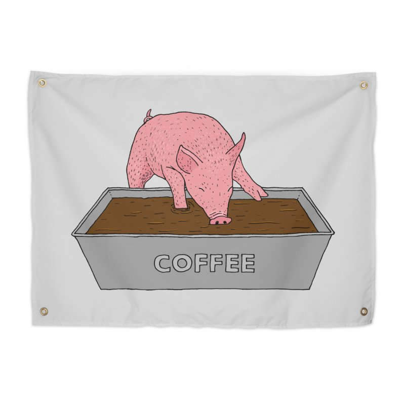Coffee Pig Home Tapestry by Martina Scott's Shop