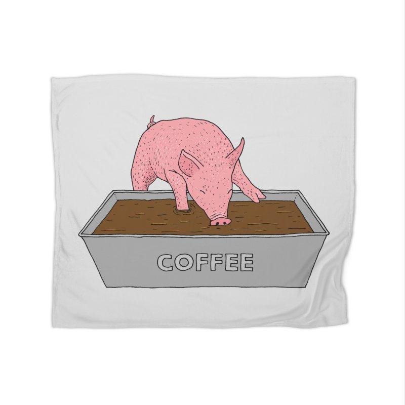 Coffee Pig Home Fleece Blanket Blanket by Martina Scott's Shop