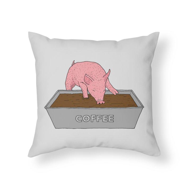 Coffee Pig Home Throw Pillow by Martina Scott's Shop