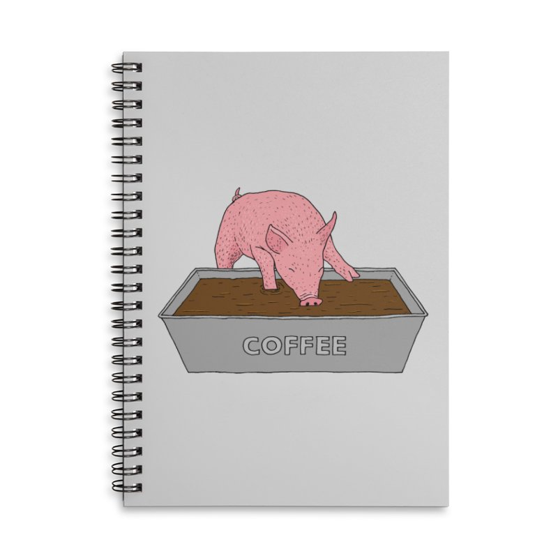 Coffee Pig Accessories Lined Spiral Notebook by Martina Scott's Shop