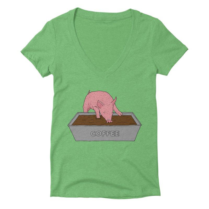 Coffee Pig Women's Deep V-Neck V-Neck by Martina Scott's Shop