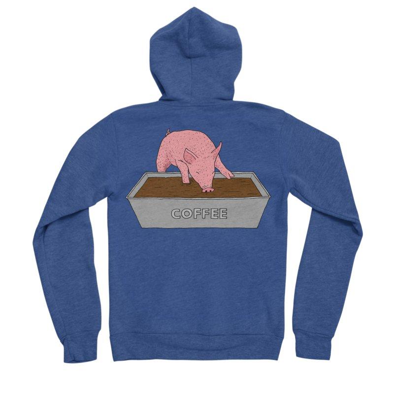 Coffee Pig Men's Sponge Fleece Zip-Up Hoody by Martina Scott's Shop