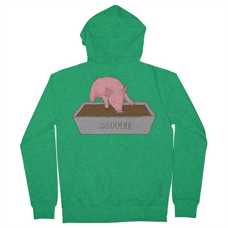 Coffee Pig Men's French Terry Zip-Up Hoody by Martina Scott's Shop