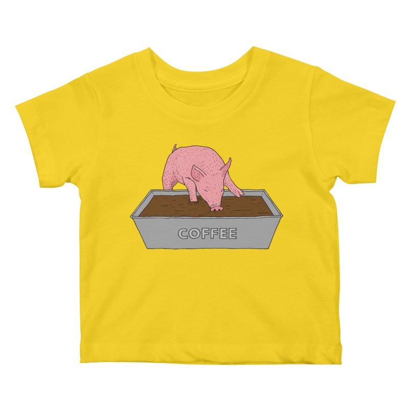 Coffee Pig Kids Baby T-Shirt by Martina Scott's Shop