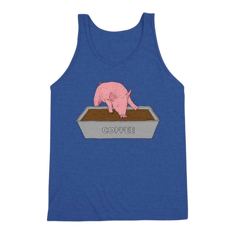 Coffee Pig Men's Triblend Tank by Martina Scott's Shop