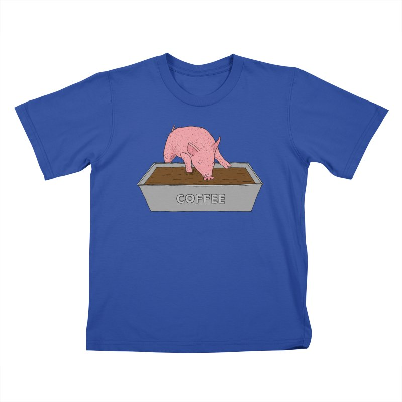 Coffee Pig Kids T-Shirt by Martina Scott's Shop
