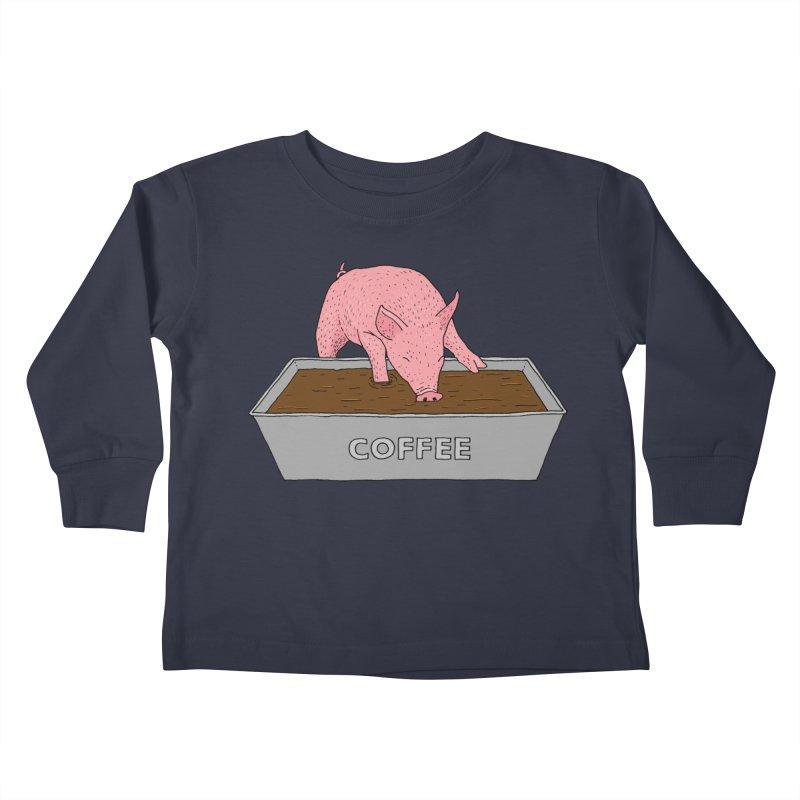 Coffee Pig Kids Toddler Longsleeve T-Shirt by Martina Scott's Shop
