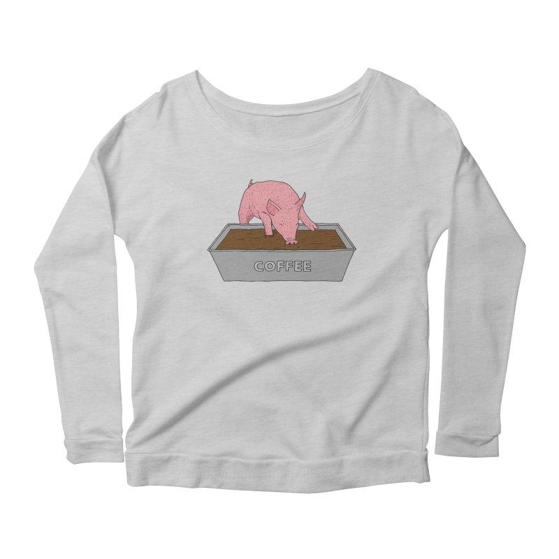 Coffee Pig Women's Scoop Neck Longsleeve T-Shirt by Martina Scott's Shop