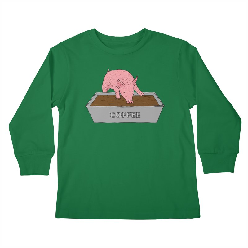 Coffee Pig Kids Longsleeve T-Shirt by Martina Scott's Shop