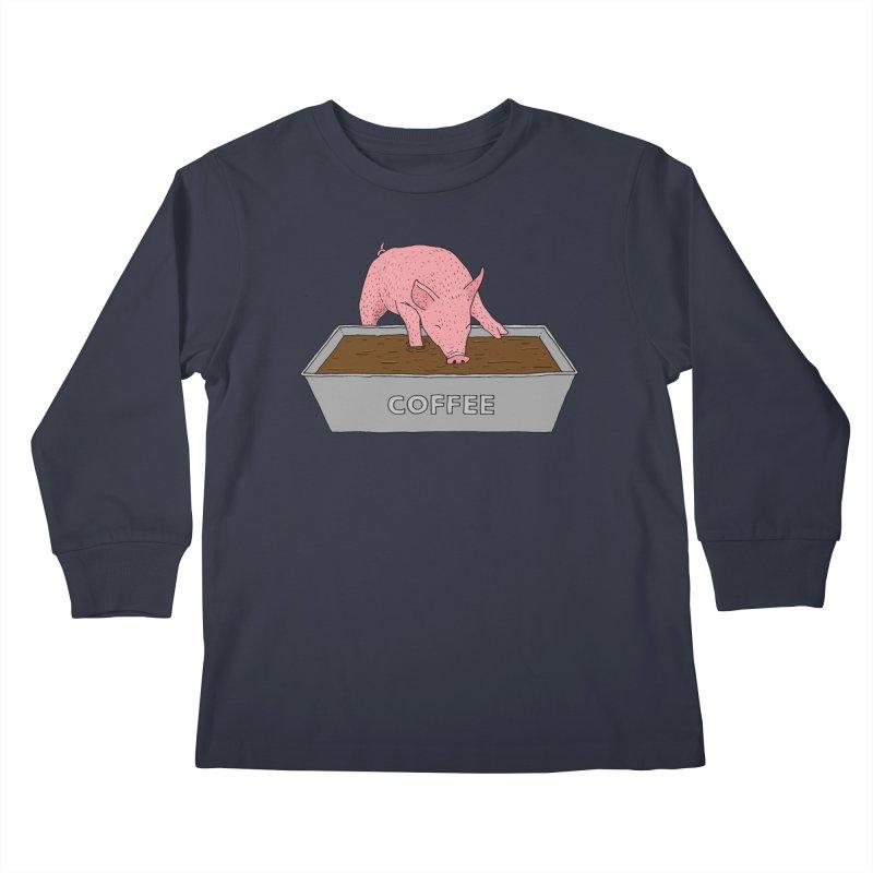 Coffee Pig Kids Longsleeve T-Shirt by Martina Scott's Shop