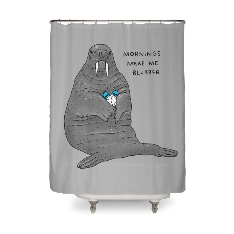 Sad Sleepy Walrus Home Shower Curtain by Martina Scott's Shop