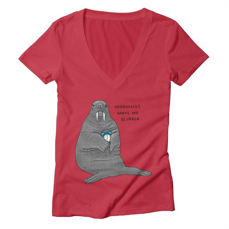 Sad Sleepy Walrus Women's Deep V-Neck V-Neck by Martina Scott's Shop