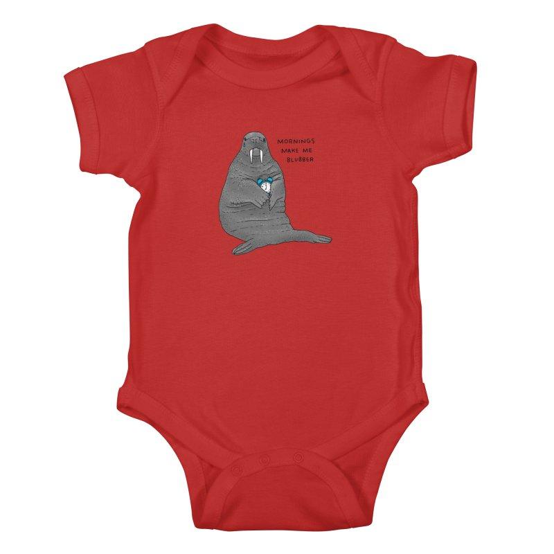 Sad Sleepy Walrus Kids Baby Bodysuit by Martina Scott's Shop
