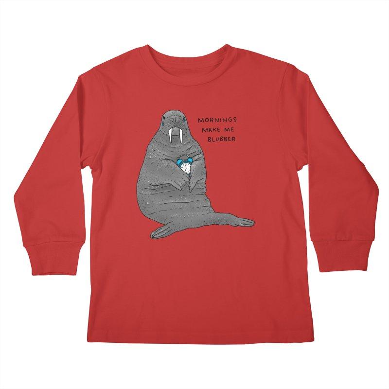 Sad Sleepy Walrus Kids Longsleeve T-Shirt by Martina Scott's Shop