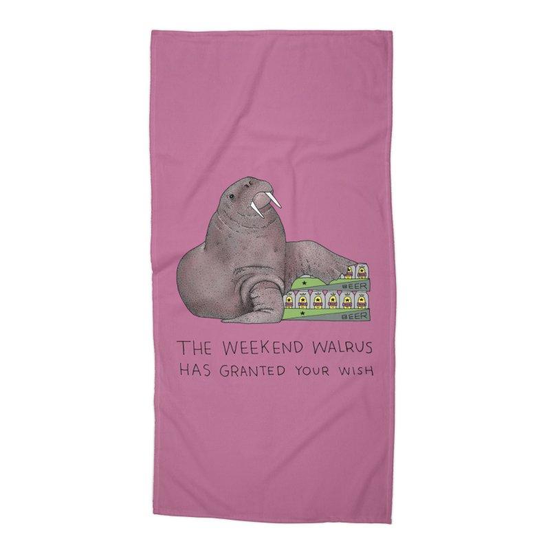 Weekend Walrus Accessories Beach Towel by Martina Scott's Shop