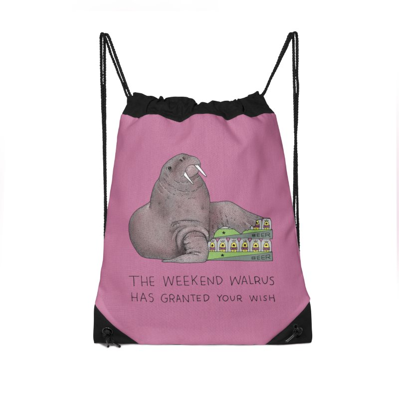 Weekend Walrus Accessories Drawstring Bag Bag by Martina Scott's Shop