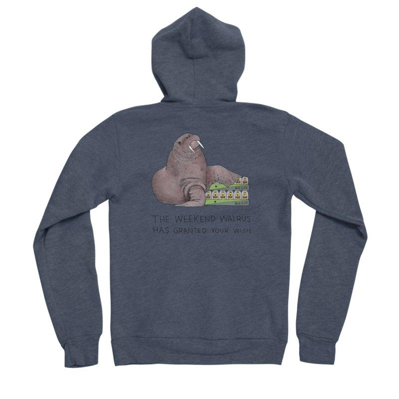 Weekend Walrus Men's Sponge Fleece Zip-Up Hoody by Martina Scott's Shop