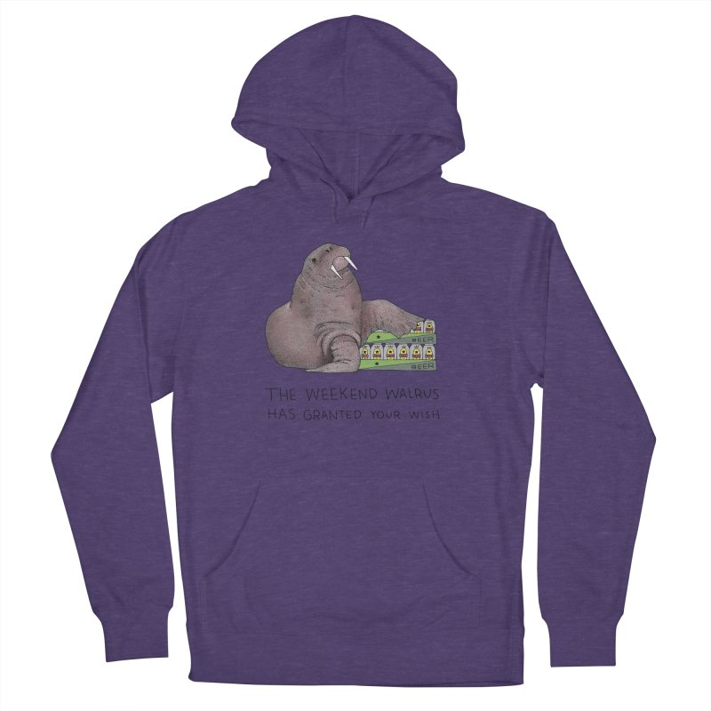 Weekend Walrus Men's French Terry Pullover Hoody by Martina Scott's Shop