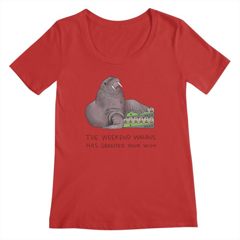 Weekend Walrus Women's Regular Scoop Neck by Martina Scott's Shop