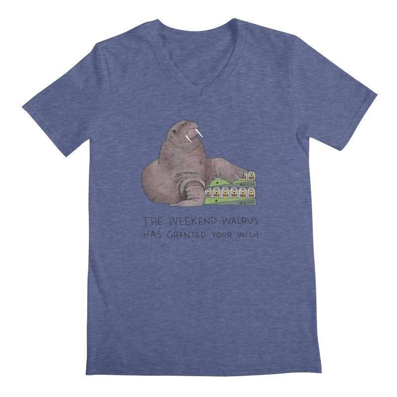 Weekend Walrus Men's Regular V-Neck by Martina Scott's Shop