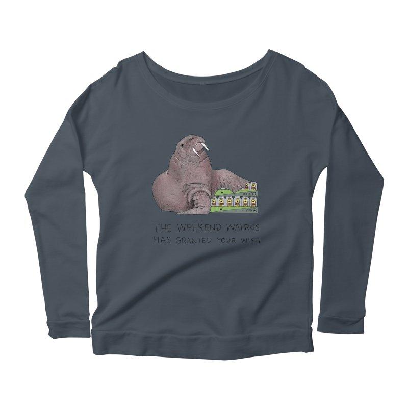 Weekend Walrus Women's Scoop Neck Longsleeve T-Shirt by Martina Scott's Shop