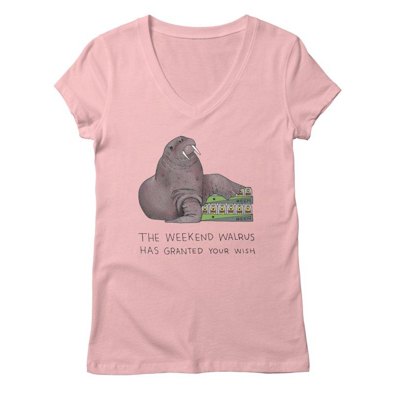 Weekend Walrus Women's Regular V-Neck by Martina Scott's Shop