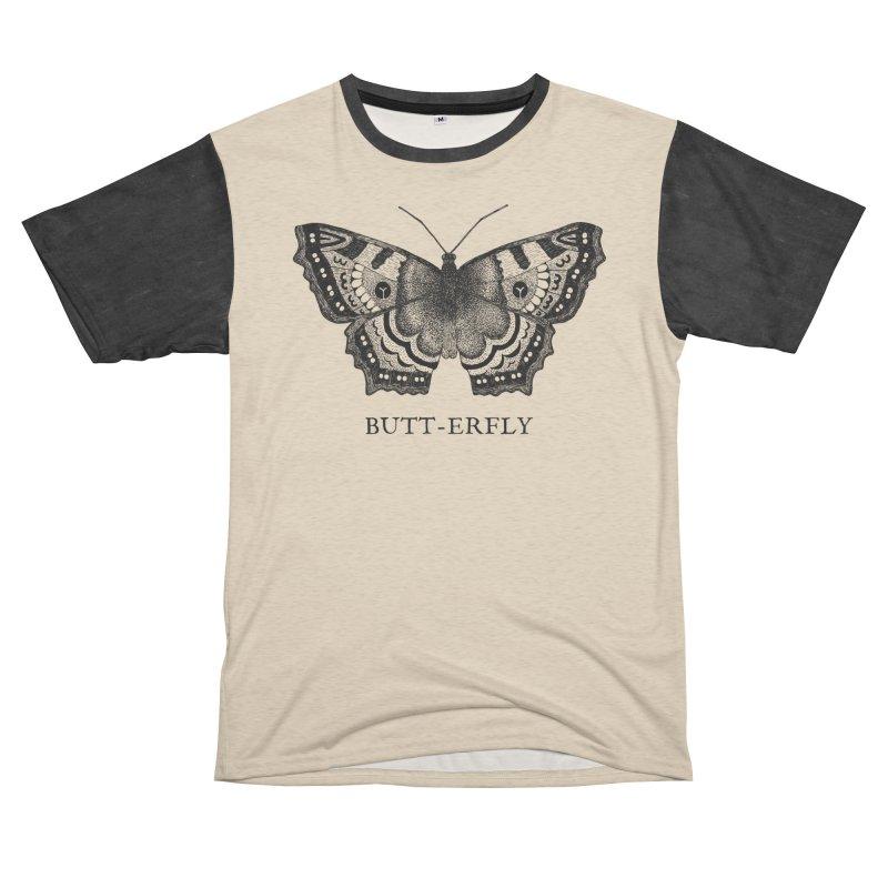 Butt-erfly Women's Unisex French Terry T-Shirt Cut & Sew by Martina Scott's Shop