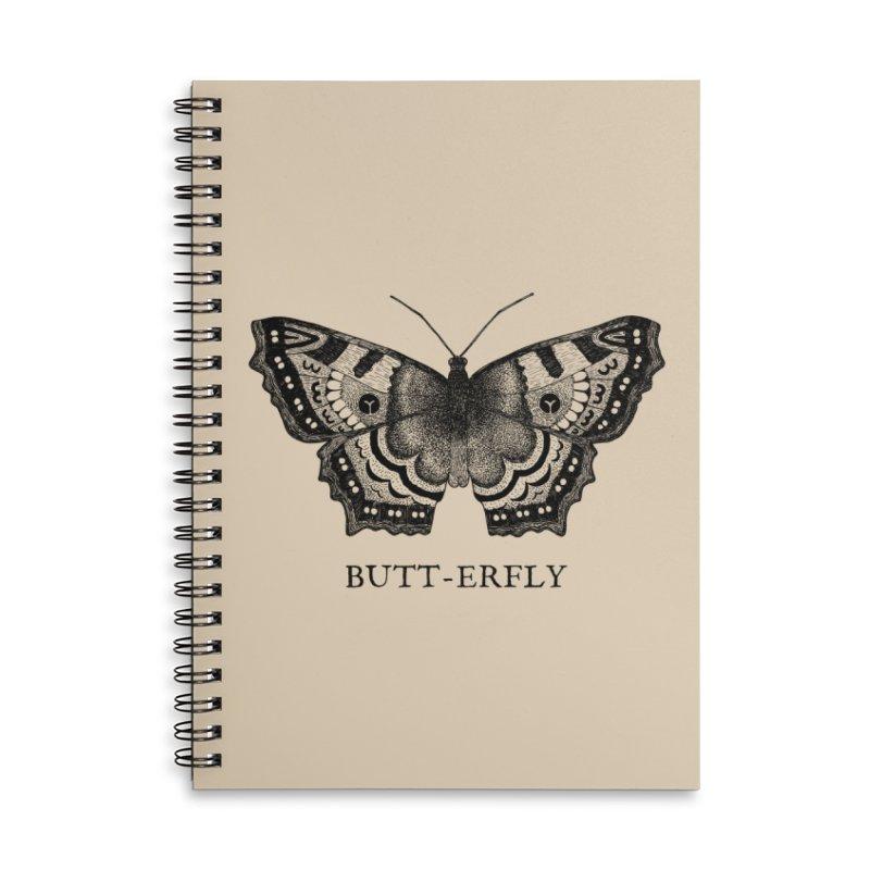 Butt-erfly Accessories Lined Spiral Notebook by Martina Scott's Shop