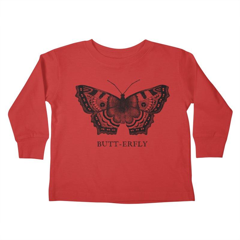 Butt-erfly Kids Toddler Longsleeve T-Shirt by Martina Scott's Shop