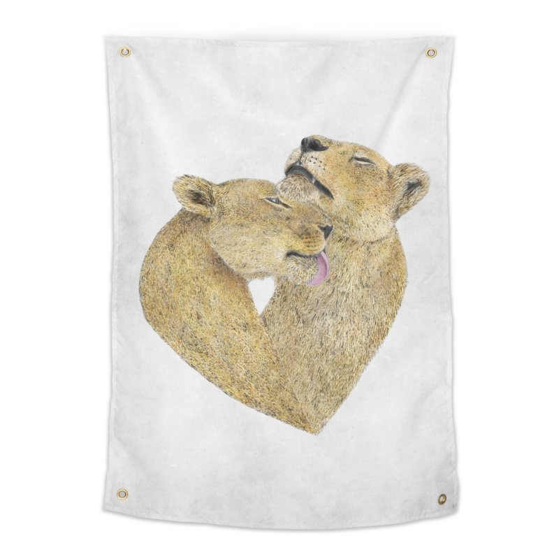 Lioness Lovers Home Tapestry by Martina Scott's Shop