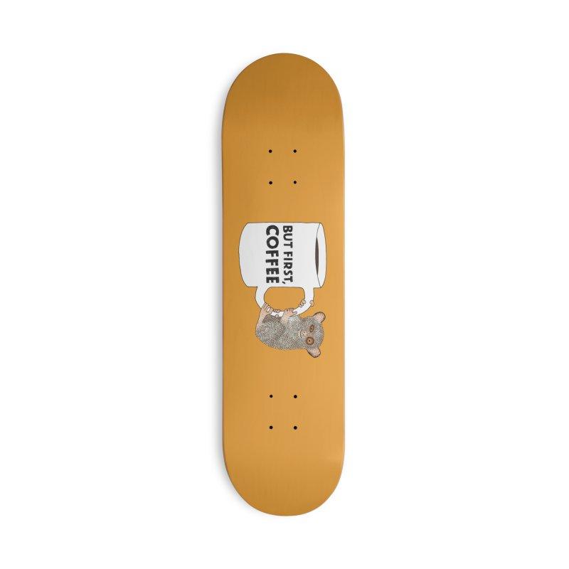 Coffee Loving Tarsier Accessories Skateboard by Martina Scott's Shop